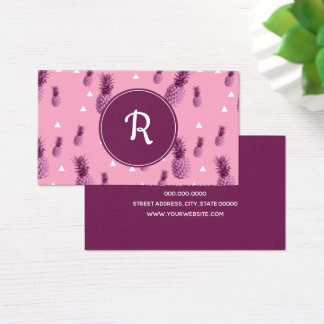 Summer tropical pink pineapple triangles pattern business card