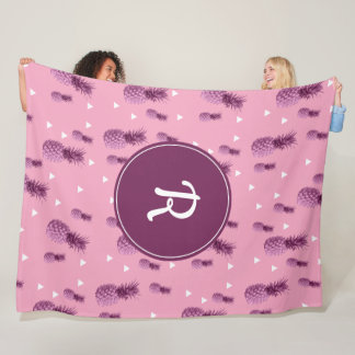 Summer tropical pink pineapple triangles pattern fleece blanket