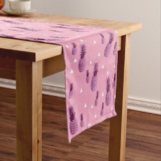 Summer tropical pink pineapple triangles pattern short table runner