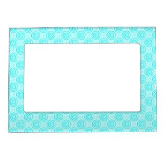 Summer Turquoise Swirls Pattern Magnetic Picture Frame