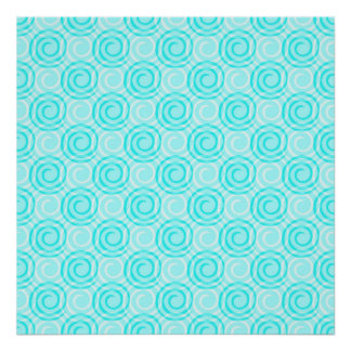 Summer Turquoise Swirls Pattern Poster