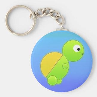 Summer Turtle Basic Round Button Key Ring