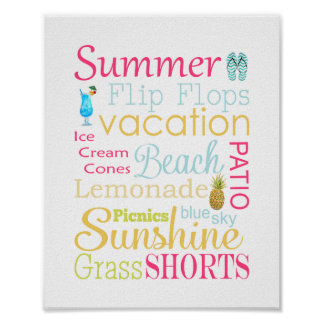 Summer Typography Wall Art Print