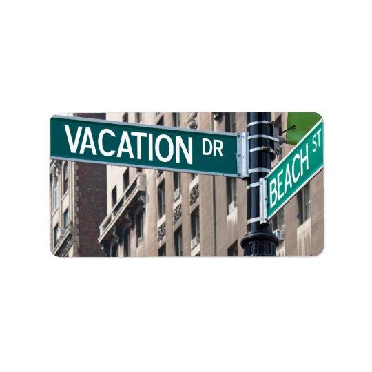 Summer Vacation Beach Street Signs Address Label