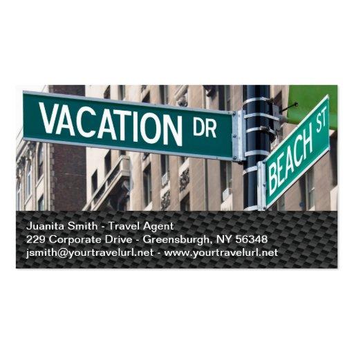 Summer Vacation Beach Street Signs Business Card Templates