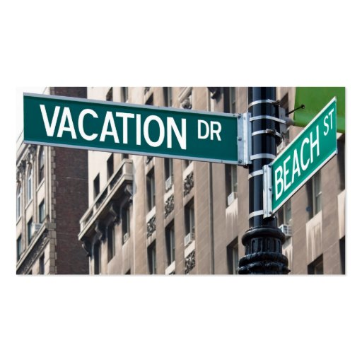 Summer Vacation Beach Street Signs Business Card Template