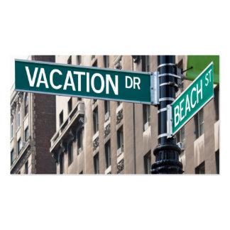 Summer Vacation Beach Street Signs Pack Of Standard Business Cards