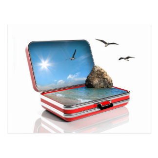 Summer vacation concept. Travel suitcase with seas Postcard