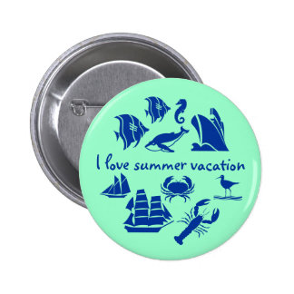 Summer vacation fun blue and mint green 6 cm round badge
