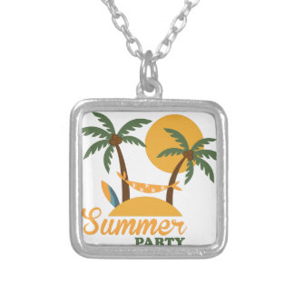 Summer vacation holiday tropical island with palm silver plated necklace