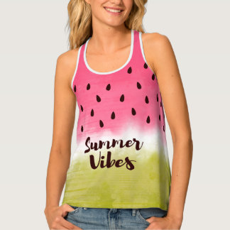 summer vibes quote and fruity print singlet