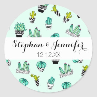 Summer Watercolor Cactus Black and White Pots Round Sticker