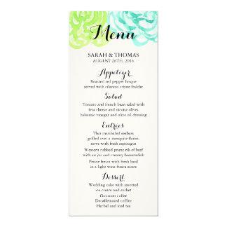 Summer Watercolor Flowers Wedding Menu Cards 10 Cm X 24 Cm Invitation Card