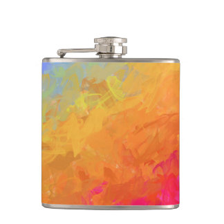 Summer watercolor rainbow colorful design hip flask