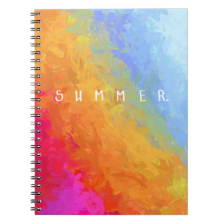 Summer watercolor rainbow colorful design notebooks