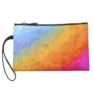 Summer watercolor rainbow colorful design suede wristlet