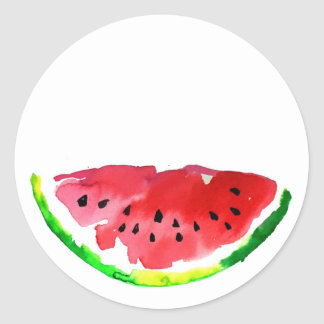 Summer Watercolor Watermelon Classic Round Sticker