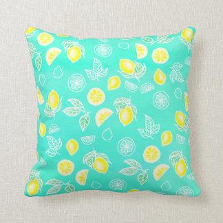 Summer watercolor yellow lemons fruits mint green cushion