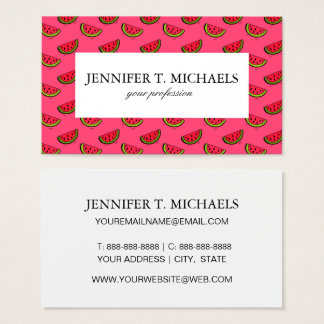 Summer Watermelon on Pink Pattern Business Card