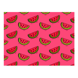 Summer Watermelon on Pink Pattern Postcard