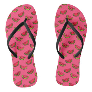 Summer Watermelon on Pink Pattern Thongs