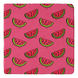 Summer Watermelon on Pink Pattern Trivet