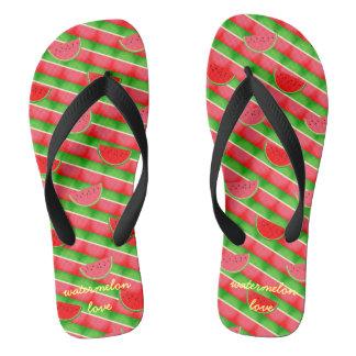 Summer Watermelon Stripes and Slice Flip Flops