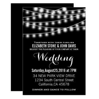 Summer Wedding String Lights Black Design 13 Cm X 18 Cm Invitation Card