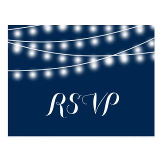 Summer Wedding String Lights RSVP Postcard