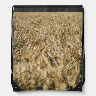 Summer Wheat Field Closeup Farm Photo Drawstring Bag