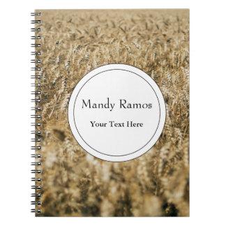 Summer Wheat Field Closeup Farm Photo Note Books