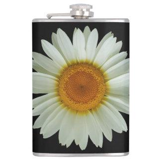 Summer White Daisy on Black Hip Flask