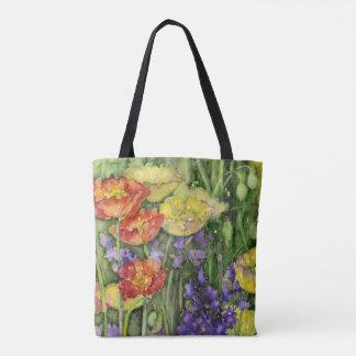 Summer Wild poppy flowers printed tote bag