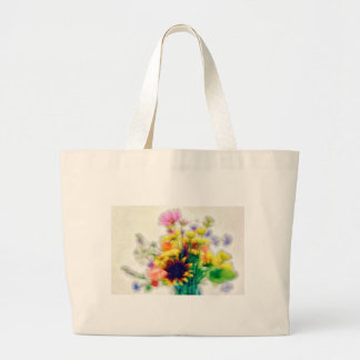Summer Wildflower Bouquet Large Tote Bag