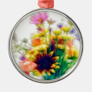 Summer Wildflower Bouquet Metal Ornament