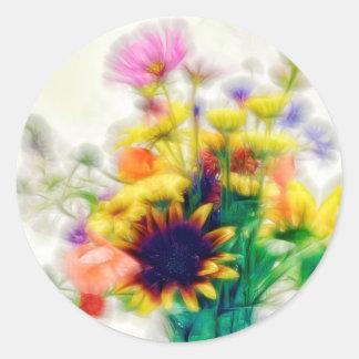 Summer Wildflower Bouquet Round Sticker