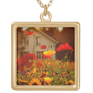 Summer wildflowers gold plated necklace