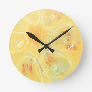 SUMMER WINDS Cheerful Whirlwind Flowers Yellow Clock