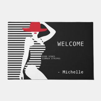 Summer Woman custom name door mats