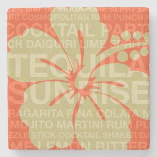 Summer Words Cocktails & Hibiscus Tiki Bar Coaster Stone Beverage Coaster