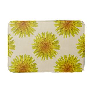 Summer Yellow Dandelion Flower on any Colour Bath Mats