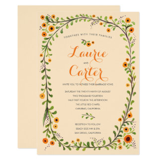 Summer Yellow Flowering Vine Floral Wedding Card