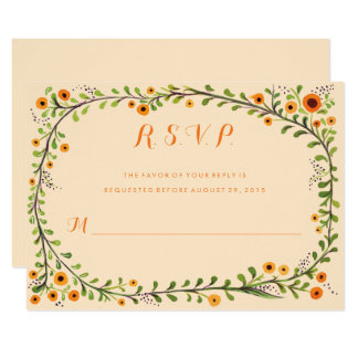 Summer Yellow Flowering Vine Floral Wedding RSVP Card