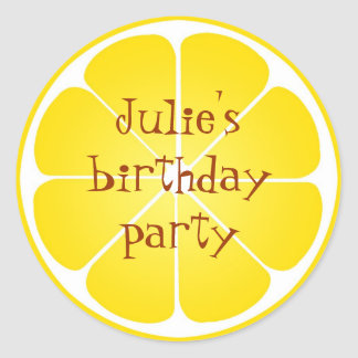 Summer yellow lemon party favor seal stickers