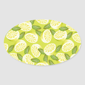 Summer Yellow Lemon Slices and leaves on yellow Oval Sticker