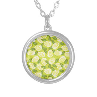 Summer Yellow Lemon Slices and leaves on yellow Silver Plated Necklace