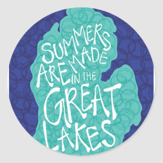 Summers Are Made In The Great Lakes - Blue Classic Round Sticker