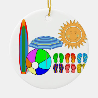 Summertime Beach Party Round Ceramic Decoration