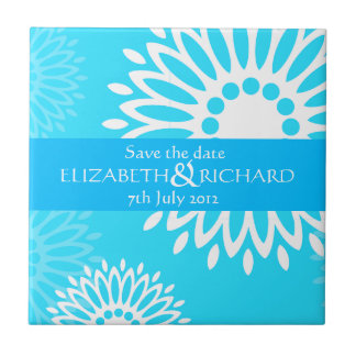 Summertime blue flowers Save the date Tile