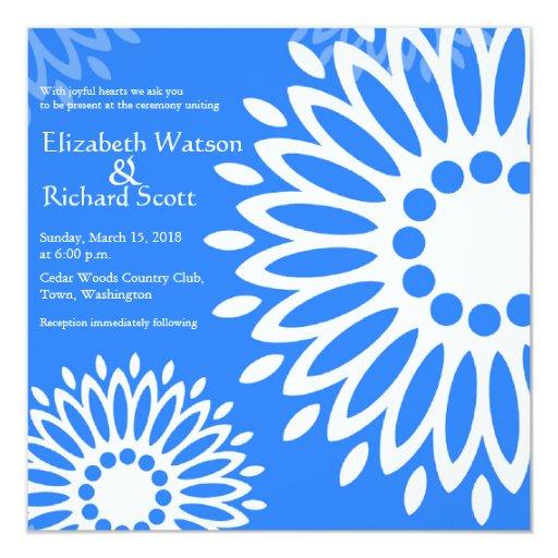 Dark Blue Wedding Invitations: Summertime Dark Blue Flowers Wedding Invitation